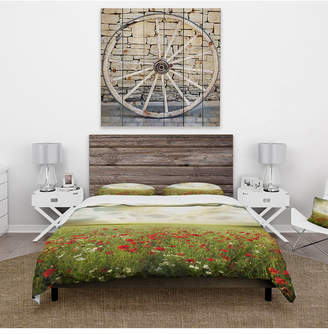 Design Art Designart 'Dramatic Sky Over Poppy Field' Rustic Duvet Cover Set - King Bedding