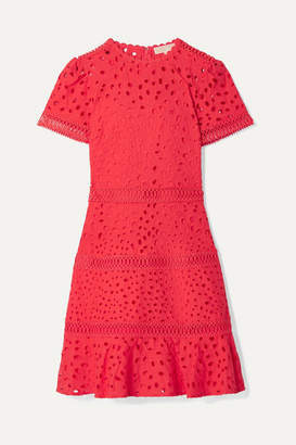 MICHAEL Michael Kors Crochet-trimmed Broderie Anglaise Cotton Mini Dress - Papaya