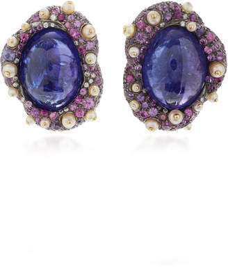 Arunashi One-Of-A-Kind Tanzanite And Sapphire Stud Earrings