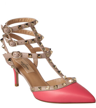 Valentino Cage Rockstud 65 Leather Ankle Strap Pump