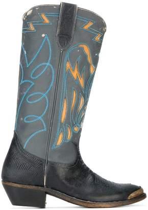 Golden Goose lizard embossed cowboy boots