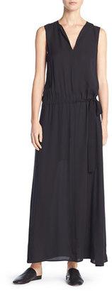 Vince Silk Belted Drop-Waist Maxi Dress, Black $425 thestylecure.com