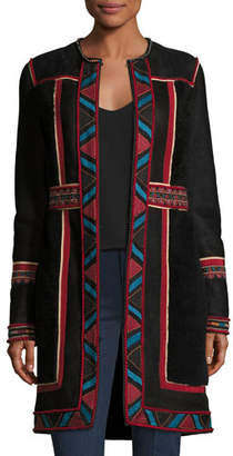 Talitha Collection Embroidered Lamb Shearling Coat