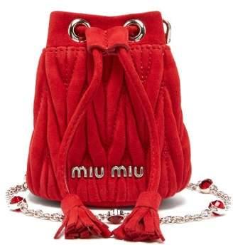 022f4ef1dbb4 Miu Miu Matelasse Micro Suede Bucket Bag - Womens - Red