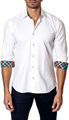 Unsimply Stitched Solid Contrast-Cuff Sport Shirt