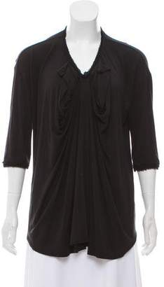 Lanvin Drape-Accented Three-Quarter Sleeve Top