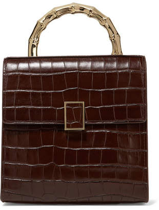 Loeffler Randall Tani Mini Croc-effect Leather Tote - Dark brown