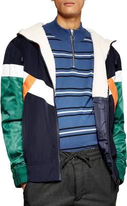 Topman Fleece Lined Hooded Track Jacket