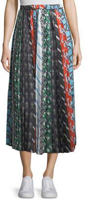 Carven Mixed-Print A-Line Silk Skirt