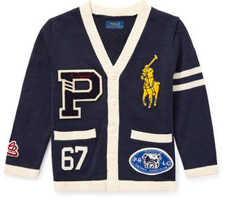 Ralph Lauren V-Neck Cardigan Sweater w/ Logo Patches, Size 2-4