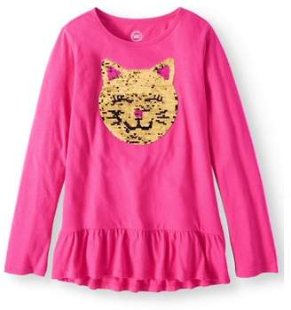 Wonder Nation Girls' Embellished Animal Long Sleeve Ruffle Hem T-Shirt