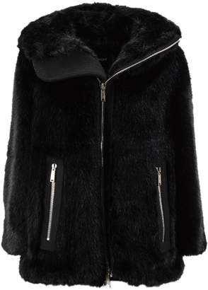 DSQUARED2 Black Cotton And Virgin Wool Blend Faux Fur Hooded Jacket.
