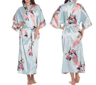 Habitaen Women Satin Kimono Robes Long Sexy Nightgown Vintage Printed Flower