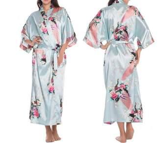 Habitaen Women Satin Kimono Robes Long Sexy Nightgown Vintage Printed Flower