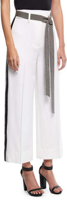 Racil Cropped Wide-Leg Tuxedo Pants with Wave-Print Belt