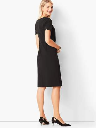 Talbots Refined Scallop-Sleeve Ponte Dress - Black
