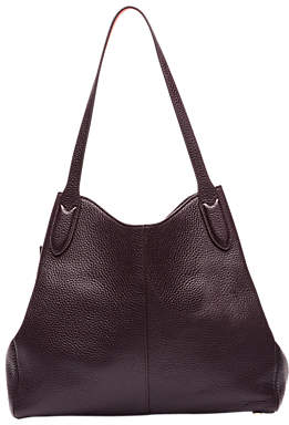 Lulu Guinness Jackie Grainy Leather Tote Bag, Aubergine/Orange