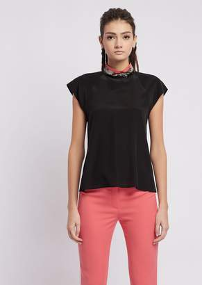 Emporio Armani Mulberry Silk Blouse With Collar Embroidered In Colorful Sequins