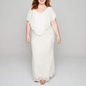 BLU SAGE Blu Sage Stretch Lace Gown with Chiffon Popover - Plus