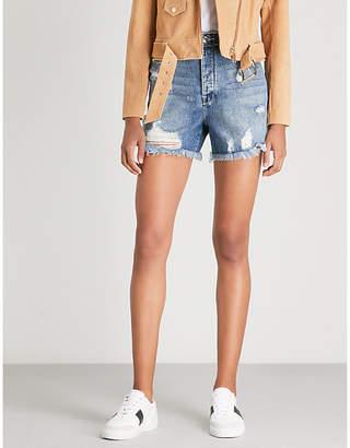 Good American Frayed high-rise denim shorts