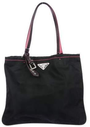 Prada Leather-Trimmed Vela Tote