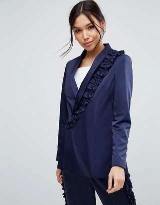 Asos Ruffle Detail Suit Jacket