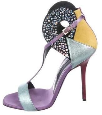 Diego Dolcini Leather Embellished Sandals