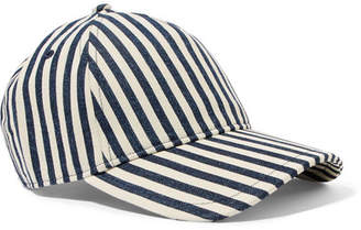 Rag & Bone Marilyn Leather-trimmed Striped Denim Baseball Cap - Navy