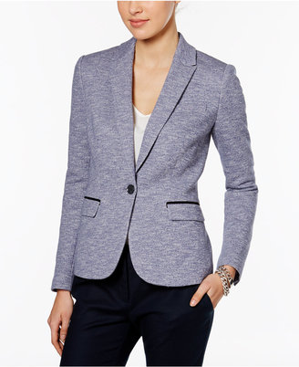 Tommy Hilfiger Tweed Piped-Trim One-Button Blazer $139 thestylecure.com