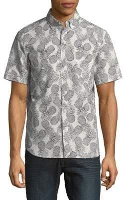 Black & Brown Black Brown Pineapple-Print Short-Sleeve Shirt