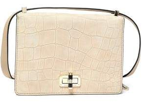 Diane von Furstenberg Les Croc-Effect Nubuck Shoulder Bag