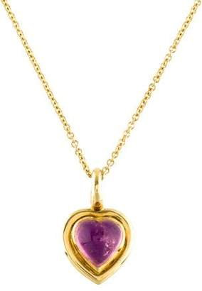 18K Tourmaline & Amethyst Heart Pendant Necklace