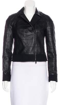 Tory Burch Wool-Paneled Leather Jacket