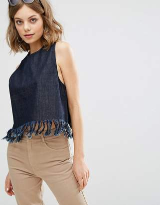 Vale Relaxed Fit Tank With Fray Edge