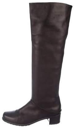 Stuart Weitzman Leather Round-Toe Over-The-Knee Boots