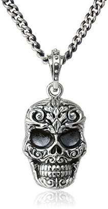 King Baby Carved Baroque Skull Fine Curb Link Chain Pendant Necklace $440.44 thestylecure.com