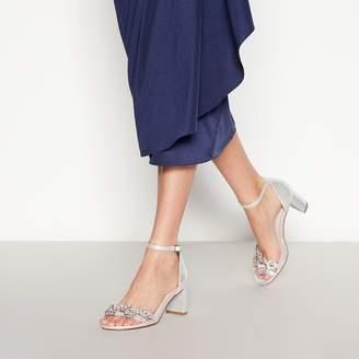 Faith - Silver Diamante 'Dommy' Mid Block Heel Sandals