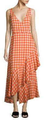 Diane von Furstenberg Gingham Asymmetrical Ruffled Midi Dress