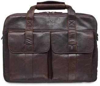 Buffalo David Bitton Mancini RFID-Secure Double-Compartment Leather Briefcase