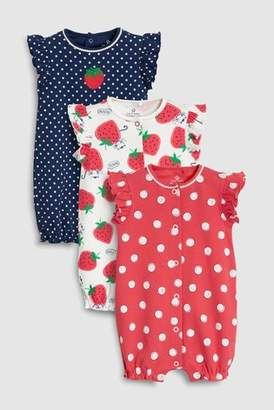 Next Girls Red/Navy Strawberry Print Rompers Three Pack (0mths-2yrs)