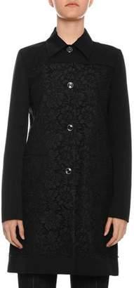 Valentino Lace Button-Front Faille Rain Coat
