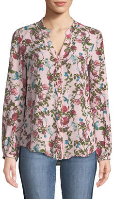 KUT from the Kloth Eleni Long-Sleeve Floral Button-Front Blouse