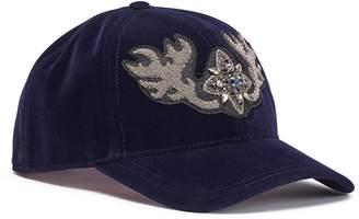 My Bob Jewelled brooch velvet baseball cap