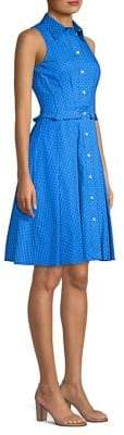 Michael Kors Sleeveless Pleated Polka-Dot Shirt Dress