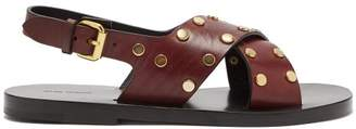 Isabel Marant - Jane Stud Embellished Leather Sandals - Womens - Burgundy