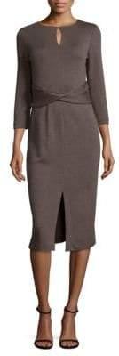 Lafayette 148 New York Wrap Front Wool Dress