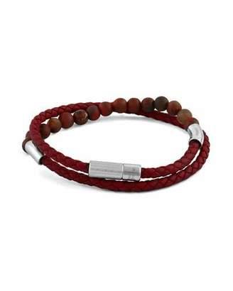 Tateossian Men's Beaded Leather Wrap Bracelet, Red