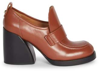 Chloé Adelie Leather Block Heel Loafers