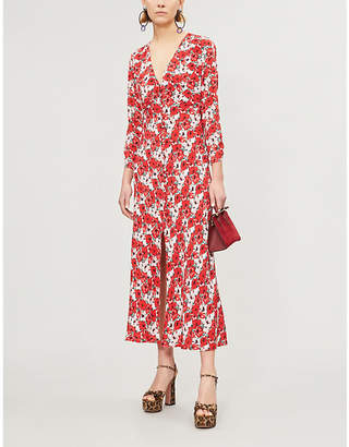 Rixo Katie V-neck floral-print crepe midi dress