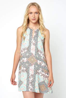 Abbeline Sleeveless Key Hole Medallion Print Swing Dress